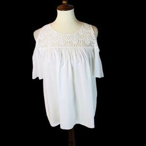 Stylus Lace Cold Shoulder Top NWT